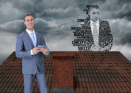 Digital composite of Businessman on roof with businessman silhouette made of words