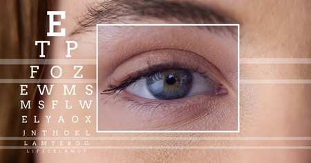 Digital composite of eye focus box detail and lines and Eye test interface Stock Photo