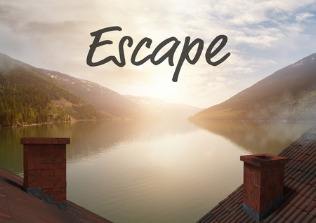 free range: Digital composite of Escape text over rooftops by mountain lake Stock Photo