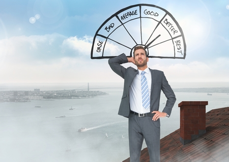 Digital composite of Barometer icon good and bad with Businessman standing on Roof with chimney and city sea port