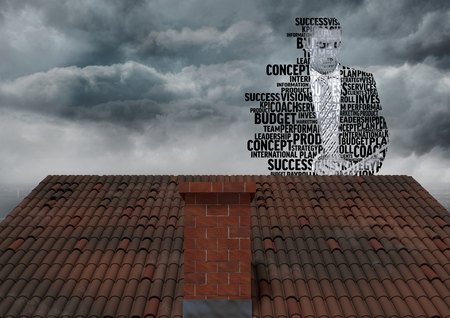 Digital composite of Businessman silhouette made up of words over roof Stock Photo