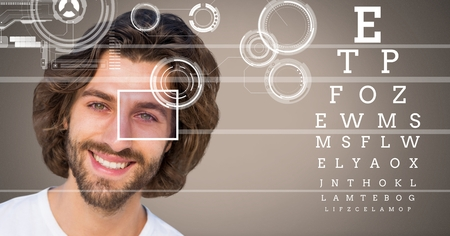 side viewing: Digital composite of man with eye focus box detail and lines and Eye test interface Stock Photo