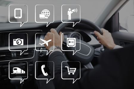 Digital composite of Phone icons against person in the car