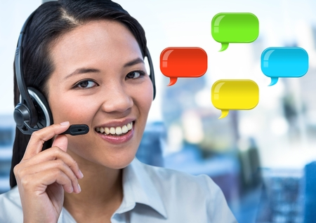 Digital composite of Customer service Woman on headset with shiny chat bubbles
