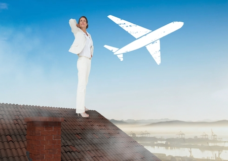 Digital composite of Plane icon and Businesswoman standing on Roof with chimney and landscape
