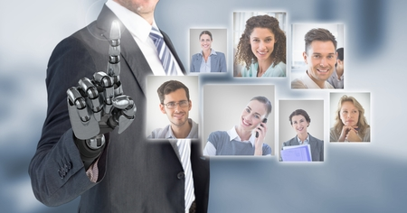 Digital composite of Robotic android Businessman interacting and choosing a person from group of people interface