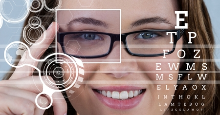 Digital composite of Woman with eye focus box detail over glasses and lines and Eye test interface