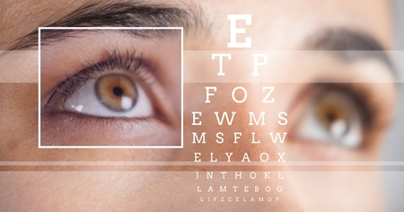 Digital composite of Woman with eye focus box detail and lines and Eye test interface Stock Photo