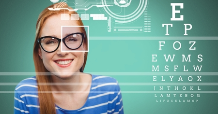 Digital composite of Woman with eye focus box detail over glasses and Eye test interface Stock Photo