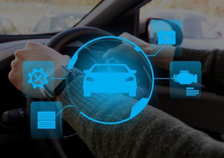 車の中の人に対して車インターフェイスのデジタル合成 写真素材