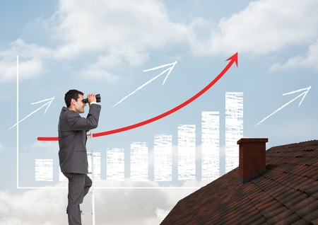peering: Digital composite of Businessman on ladder with binoculars over roof and incremented bar chart