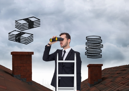 peering: Digital composite of Businessman on property ladder with Roofs and money icons