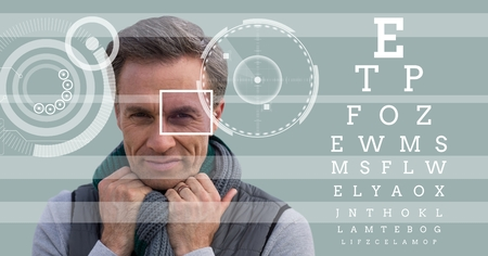 Digital composite of man with eye focus box detail and lines and Eye test interface Stock Photo