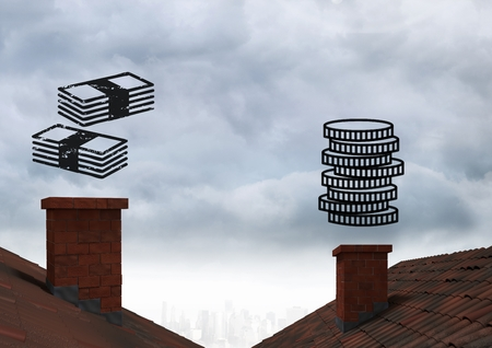 Digital composite of Money icons in sky over roofs