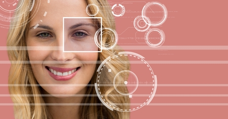 up code: Digital composite of Woman with eye focus box detail and lines interface