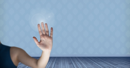 floorboards: Digital composite of Hand interacting with the air Stock Photo