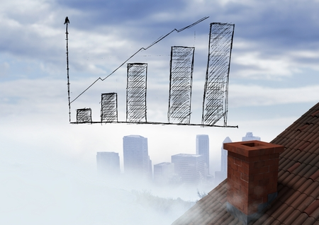 Digital composite of bar chart incremented over roof and city Stock Photo