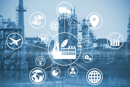 Composite image of industry amidst various icons against image of factory