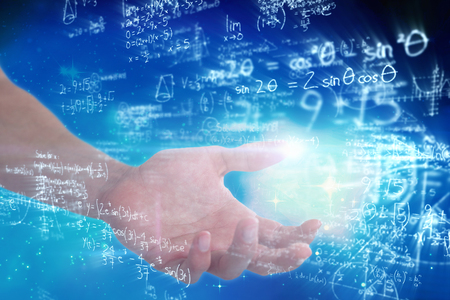 quadratic: Hand of man pretending to hold an invisible object against digitally generated image of polynomial equations with solution