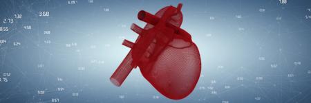 Illustration of?�3d human heart against purple vignette Stock Photo