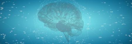 3d image of human brain against blue vignette background