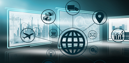 representing: Composite image of globe amidst various icons against computer graphic image of busin in 3dess graphs Stock Photo