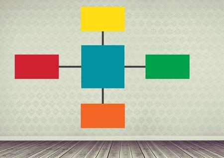 floorboards: Digital composite of Colorful mind map over room background