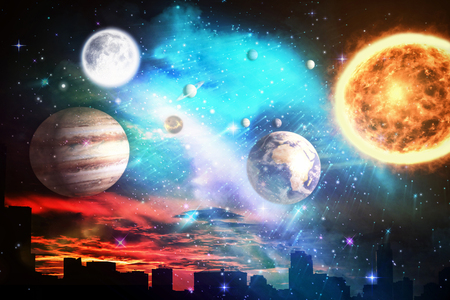 Composite image of solar system against white background against silhouette city against cloudy sky during sunset in 3d Stock Photo