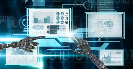 Digital composite of Robot hands interacting with technology interface panels