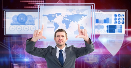 Digital composite of Businessman touching and interacting with technology interface panels