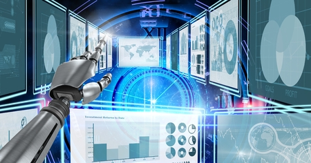 Digital composite of Robot hand interacting with technology interface panels Stock Photo