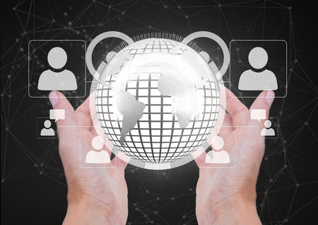 night out: Digital composite of Hands holding a globe with connectors Stock Photo