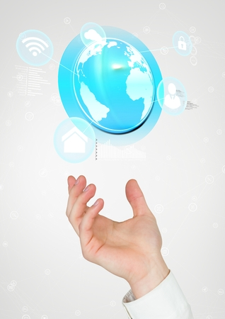 connectors: Digital composite of Hand holding a globe with connectors