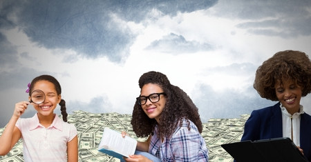 Digital composite of Women of age generations growing up with money and sky