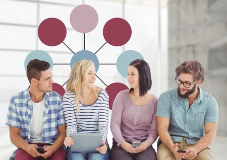 living room window: Digital composite of Group meeting with mind map Stock Photo