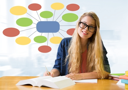 Digital composite of Businesswoman and Colorful mind map over bright background Stock Photo