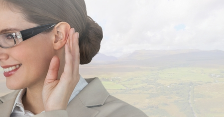 Digital composite of Woman listening to nature Stok Fotoğraf