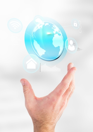 Digital composite of Hand holding a globe with connectors