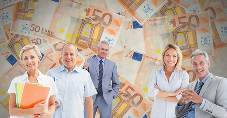 excess: Digital composite of Old people in front of euro notes