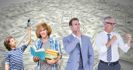 smart boy: Digital composite of Man Growing up at different age stages of life with money