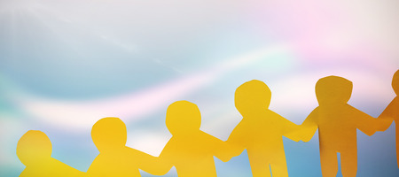 Man together against multi colored sunlight on sunny day Stock Photo