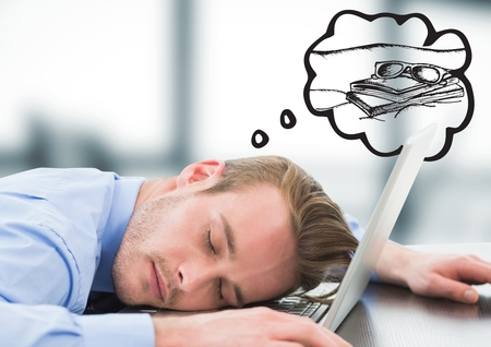 Digital composite of Business man asleep at laptop dreaming of holiday against blurry grey office