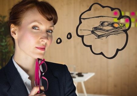 monitor: Digital composite of Close up of business woman dreaming of beach against blurry office