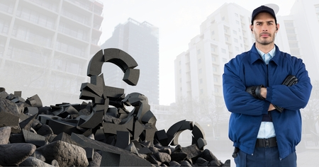 Digital composite of Broken concrete stone with Money pound symbol and man in cityscape