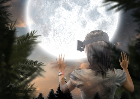 non: Digital composite of woman with VR glasses forest at night with big moon