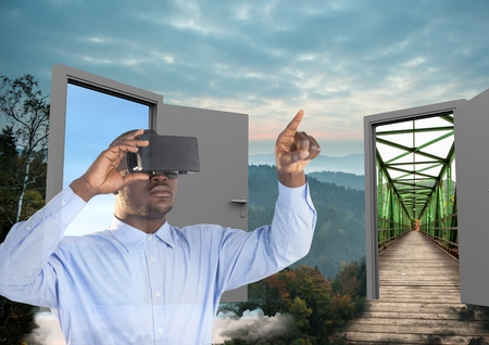 Digital composite of man with VR glasses in the forest with two doors to go other place