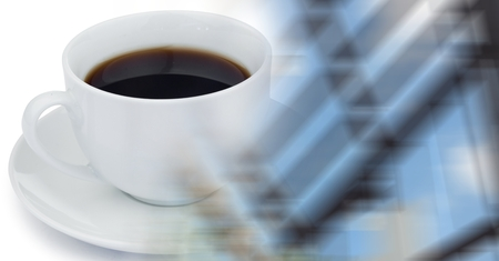 Digital composite of White coffee cup and blurry window transition