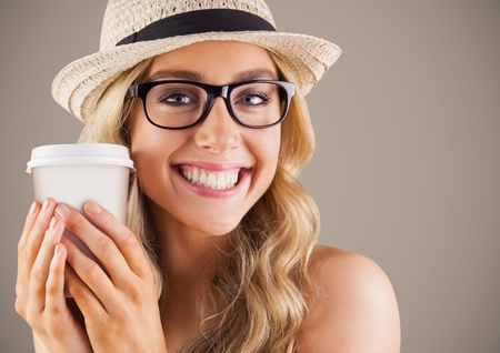 Digital composite of Close up of millennial woman with coffee against brown background