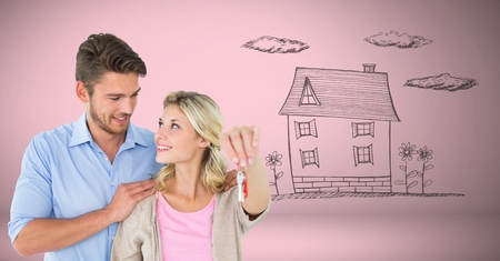 Digital composite of Couple Holding key house home drawing in front of vignette