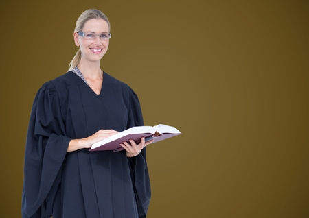 house robes: Digital composite of Female judge with book against green background